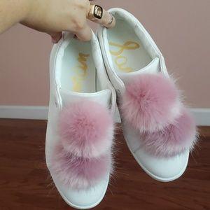 Pink pom pom sneakers, laceless slip-on